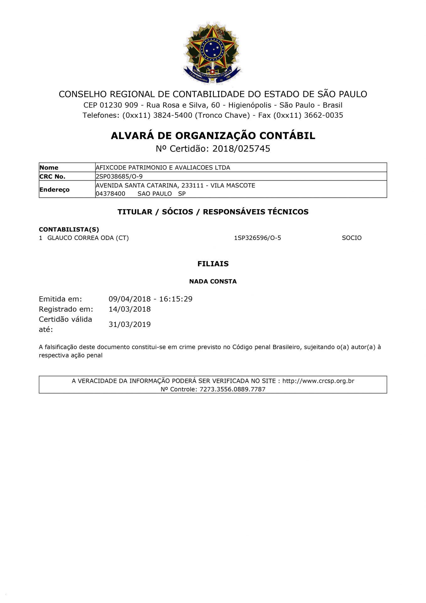 Certificado CREA 2018