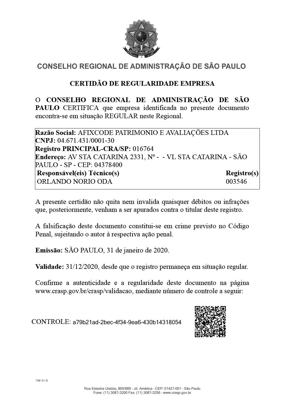 Certificado Cra