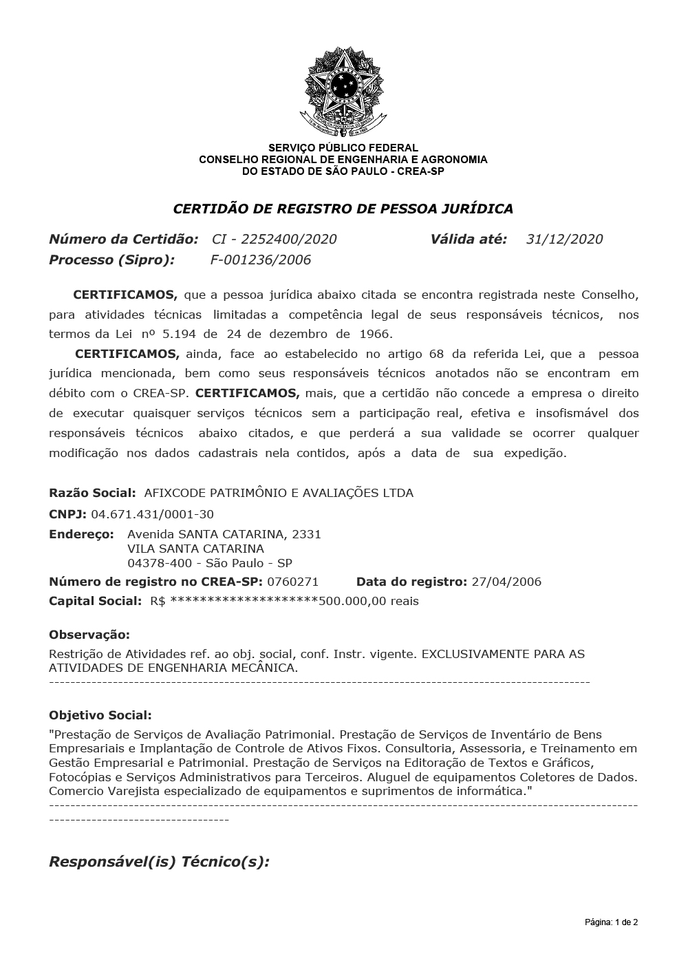 Certificado CREA-SP
