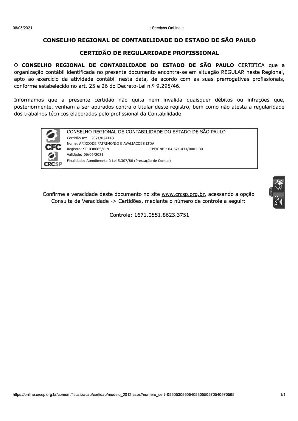 Certificado CREA 2021