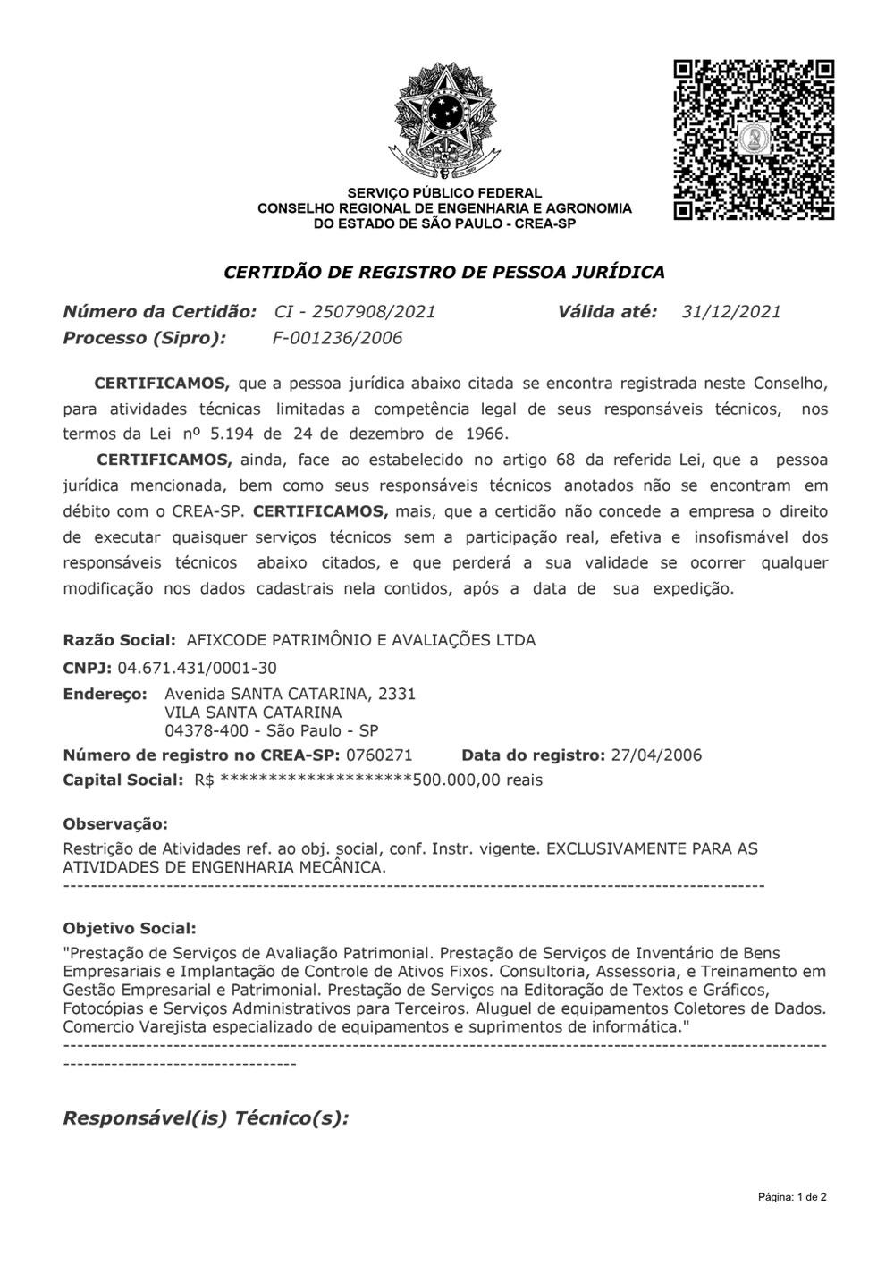 Certificado CREA-SP